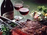 Блюда с красным вином
