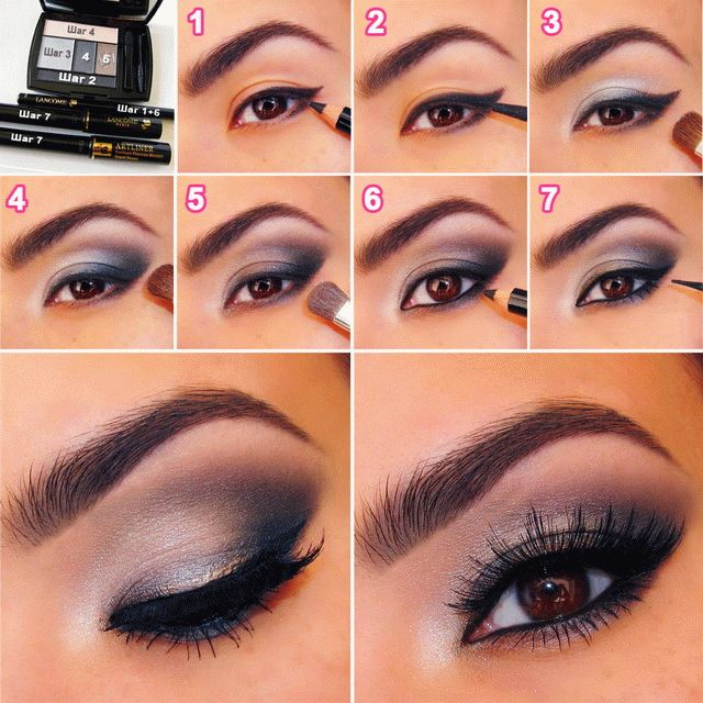 Праздничный макияж глаз шаг за шагом
